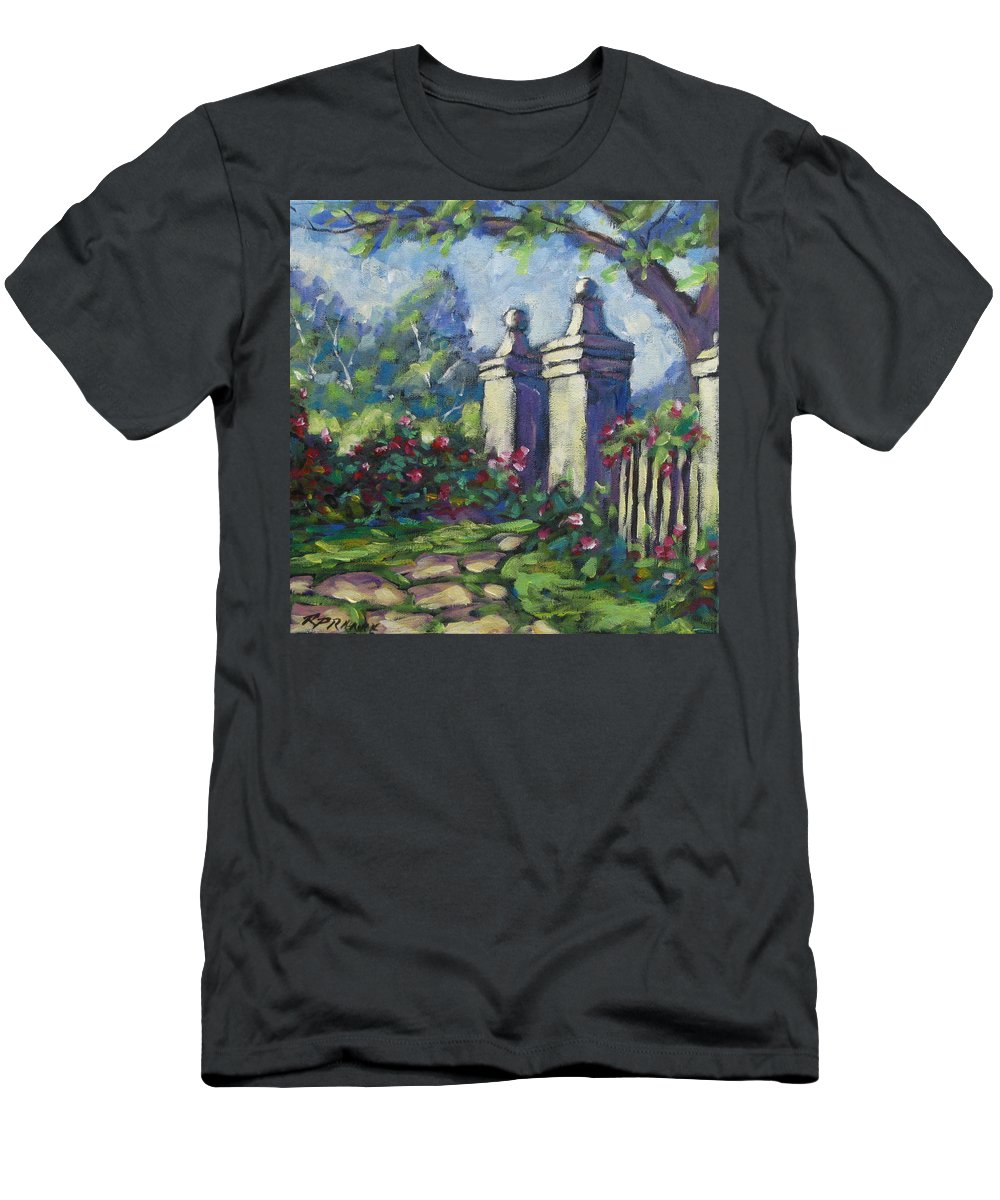 Rose Men's T-Shirt (Athletic Fit) featuring the painting Rose Garden by Richard T Pranke