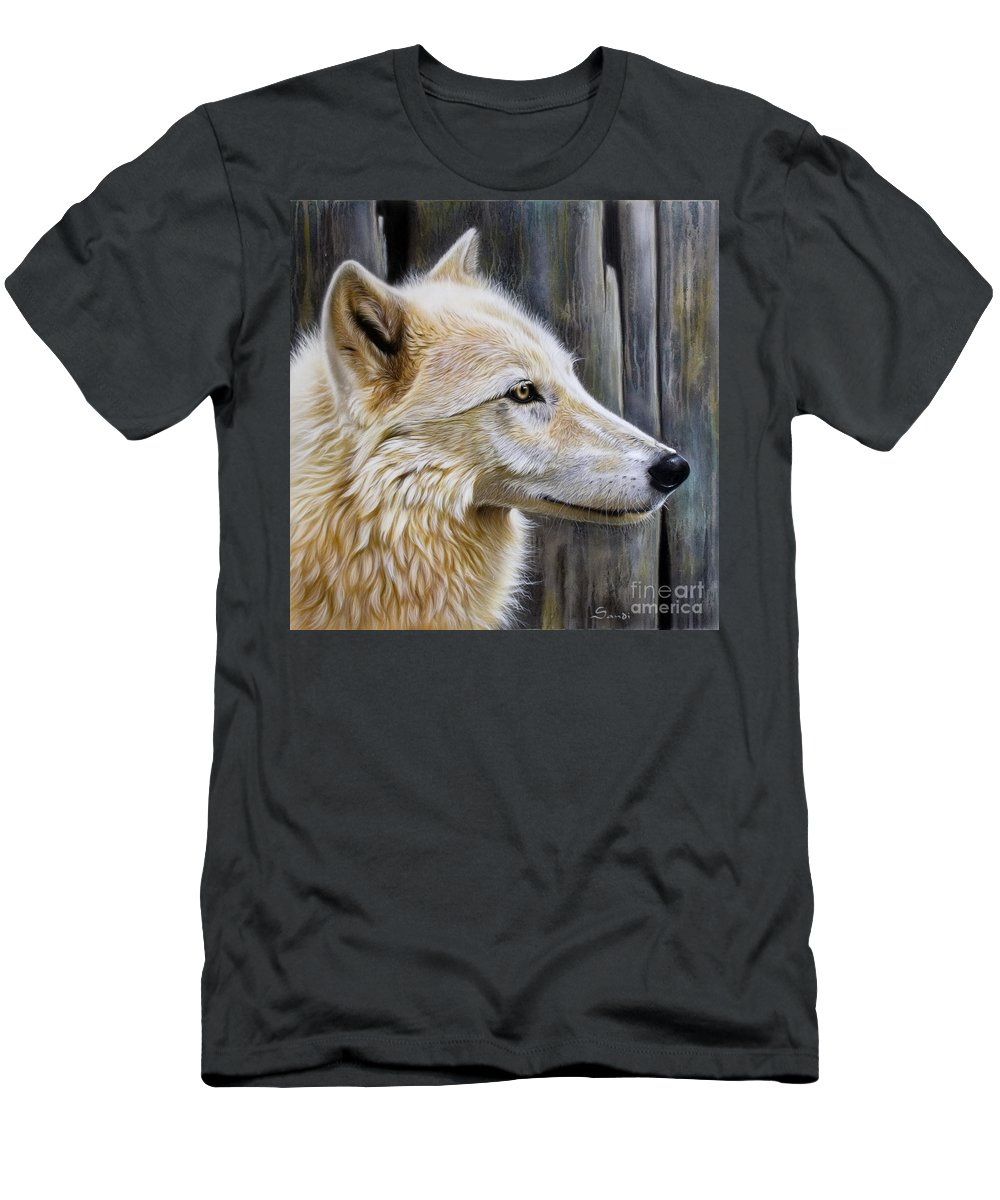 Wolves Men's T-Shirt (Athletic Fit) featuring the painting Rose by Sandi Baker