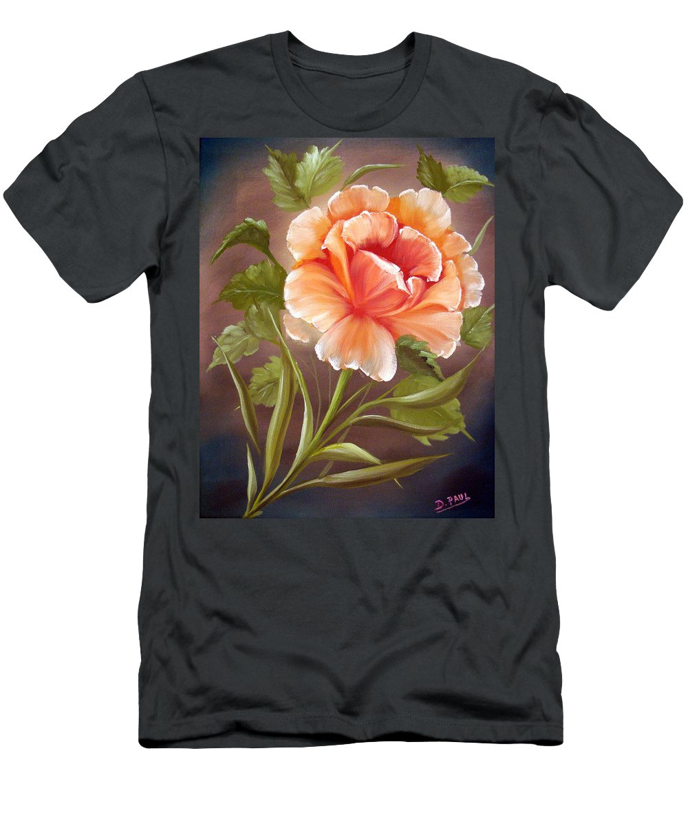 Rose T-Shirt featuring the painting Rose Tropicana by David G Paul