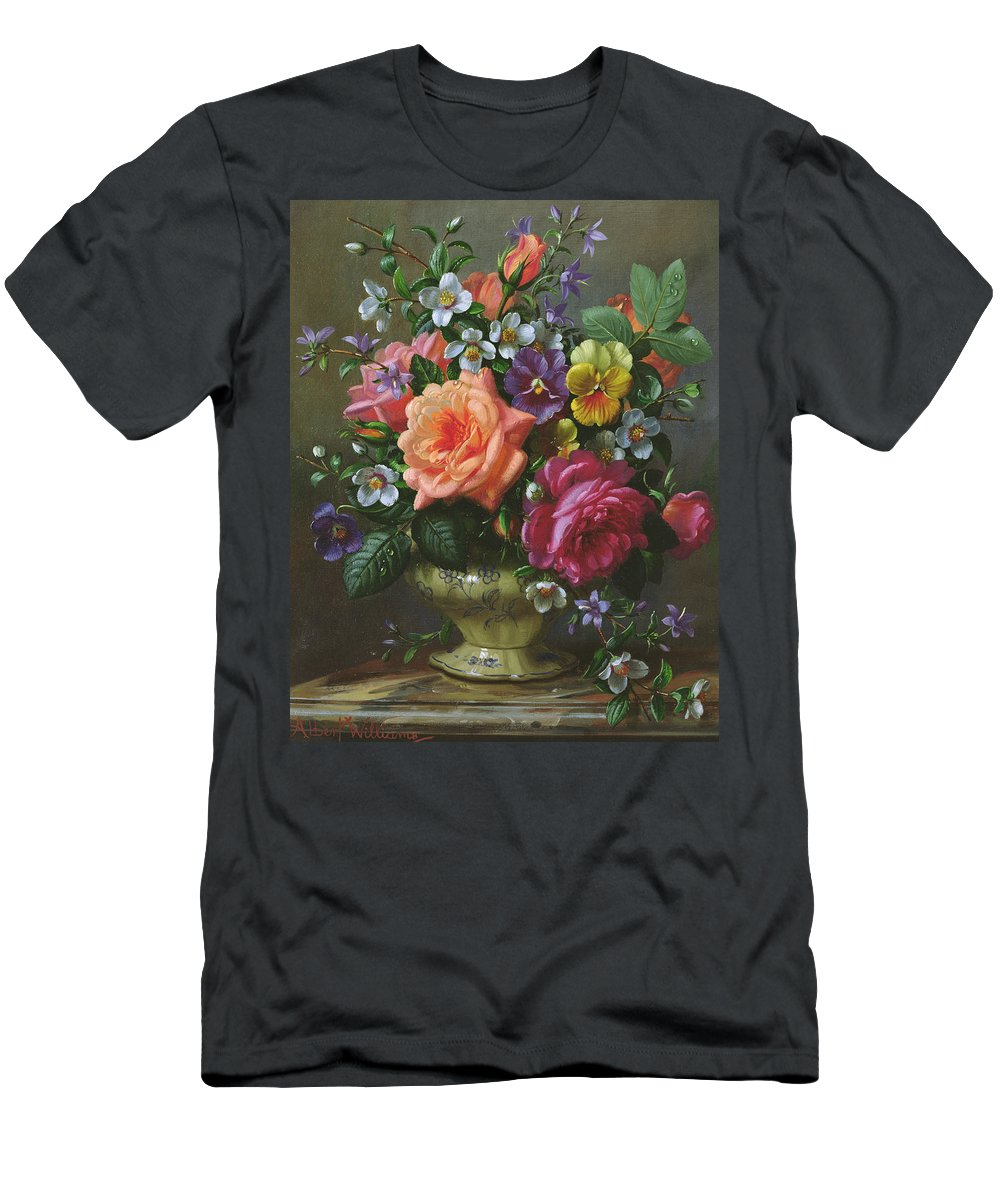 Pansies Men's T-Shirt (Athletic Fit) featuring the painting Roses And Pansies by Albert Williams