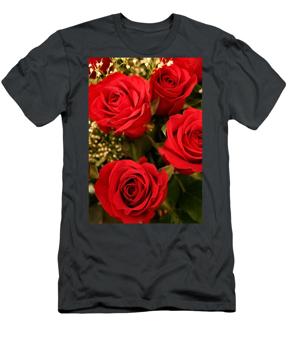 Rose Men's T-Shirt (Athletic Fit) featuring the photograph Roses Are Red by Kristin Elmquist
