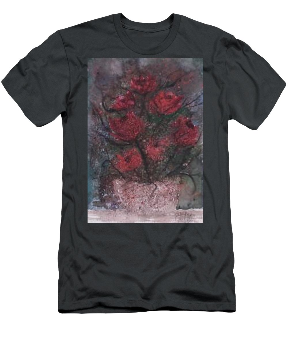 Watercolor Men's T-Shirt (Athletic Fit) featuring the painting Roses At Night Gothic Surreal Modern Painting Poster Print by Derek Mccrea
