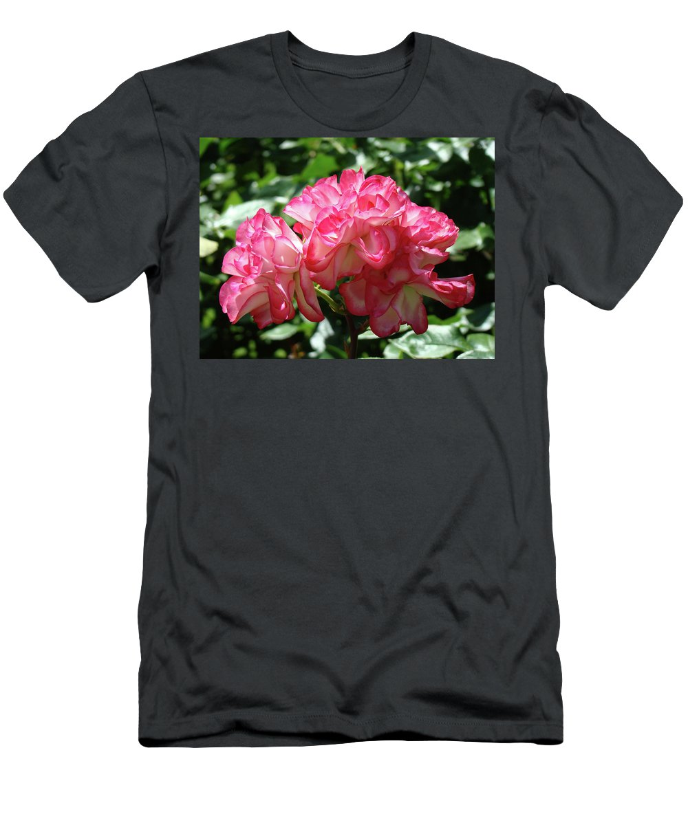 Rose T-Shirt featuring the photograph Roses Bouquet Pink White Rose Flowers 2 Rose Garden Baslee Troutman by Patti Baslee