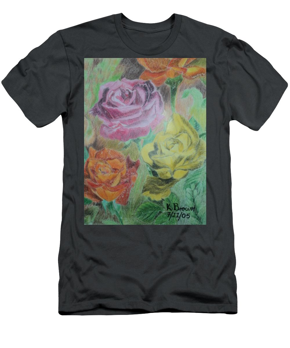Love Men's T-Shirt (Athletic Fit) featuring the painting Roses by Kenroy Brown