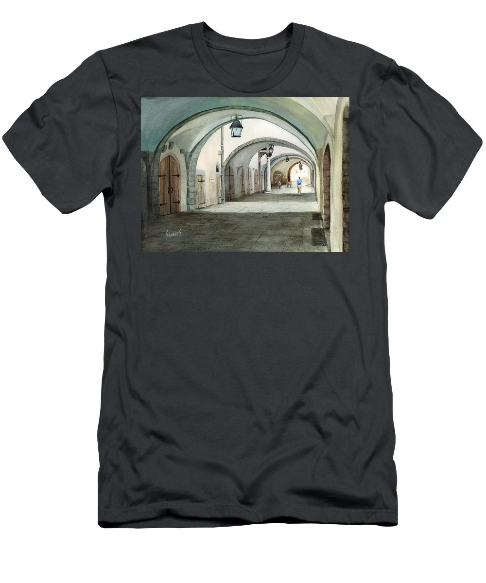 Germany T-Shirt featuring the painting Rothenburg Backstreet by Sam Sidders