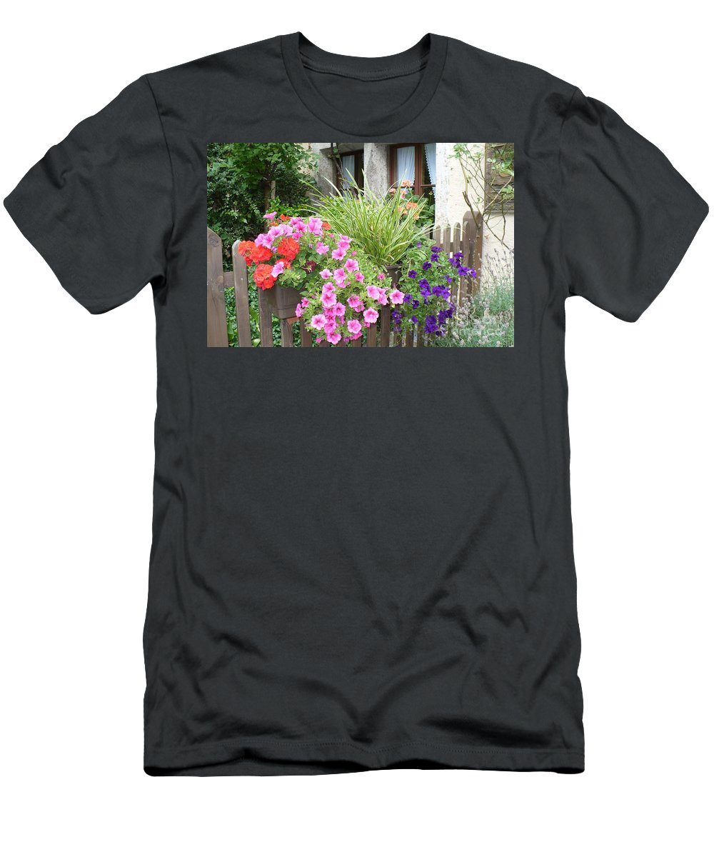 Garden Men's T-Shirt (Athletic Fit) featuring the photograph Rothenburg Flower Box by Carol Groenen