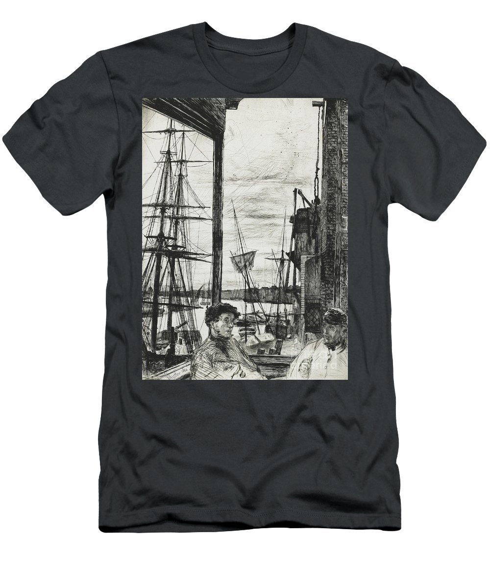 Whistler Men's T-Shirt (Athletic Fit) featuring the drawing Rotherhithe by James Abbott McNeill Whistler