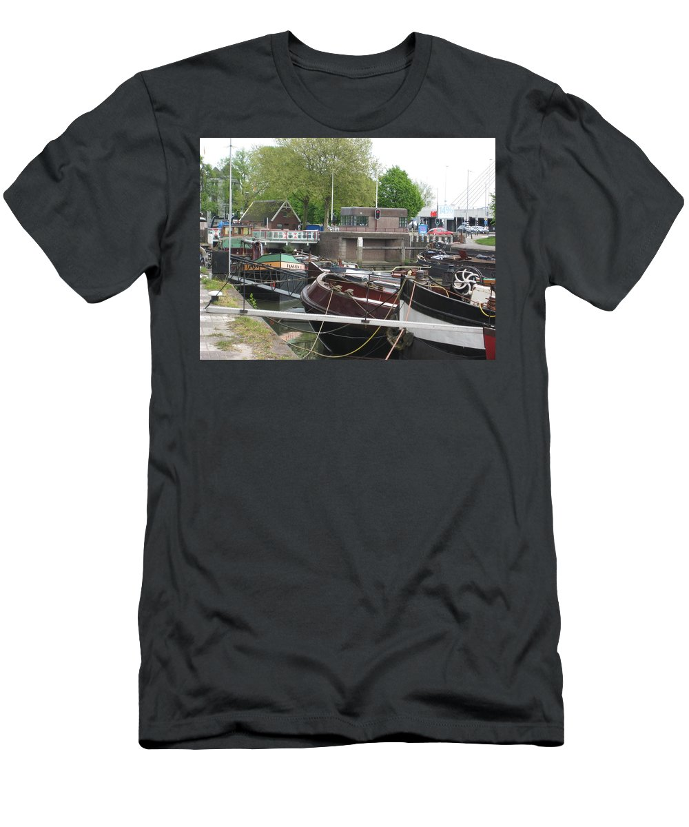 Boats Men's T-Shirt (Athletic Fit) featuring the photograph Rotterdam Silence By The Docks by Trent Jackson
