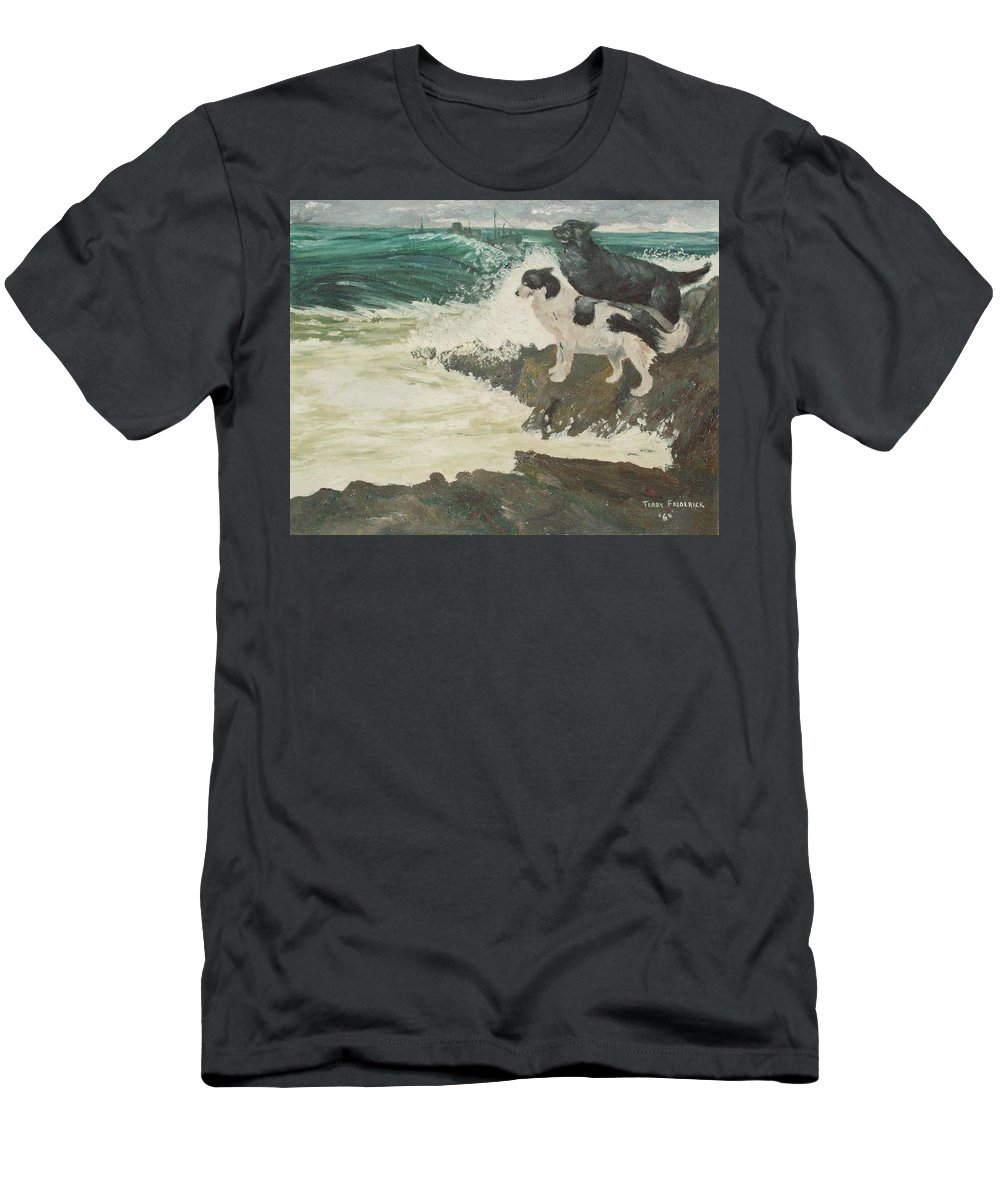 Wild Sea Men's T-Shirt (Athletic Fit) featuring the painting Roughsea by Terry Frederick