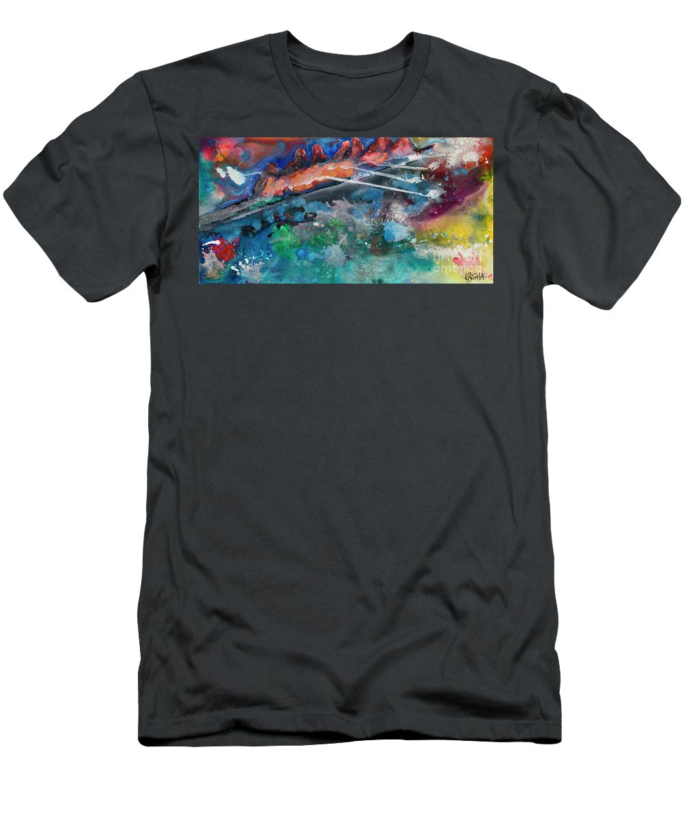 Abstract Men's T-Shirt (Athletic Fit) featuring the painting Row Your Boat by Kasha Ritter