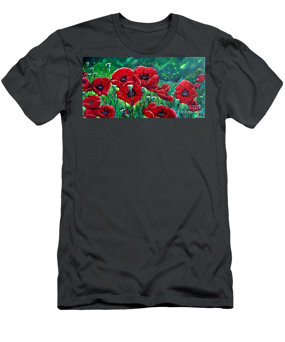 Forest Men's T-Shirt (Athletic Fit) featuring the painting Rubies In The Emerald Forest by Richard T Pranke