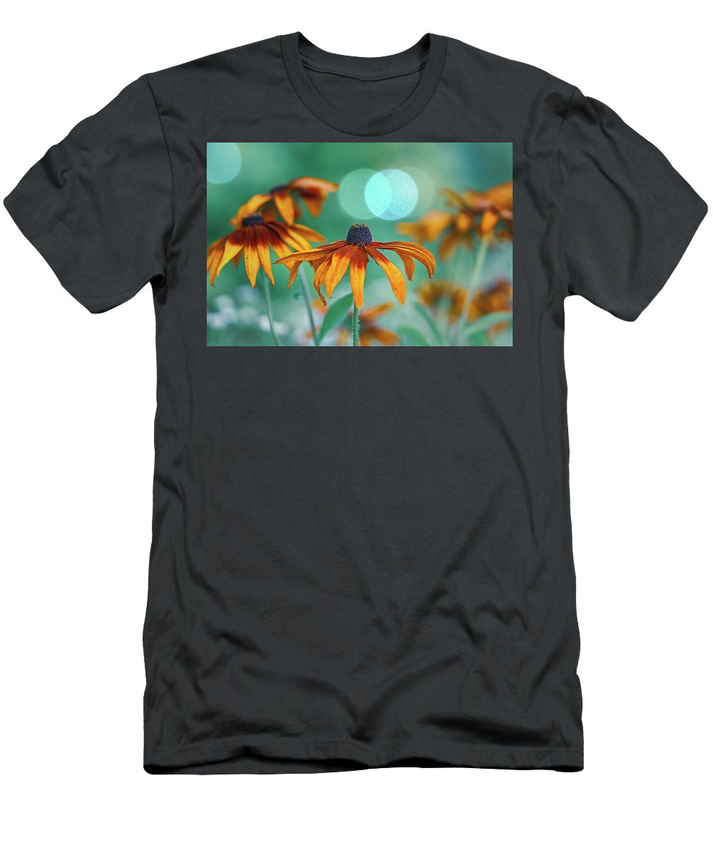 Flowers Men's T-Shirt (Athletic Fit) featuring the photograph Rudbeckia by Hanna Tor