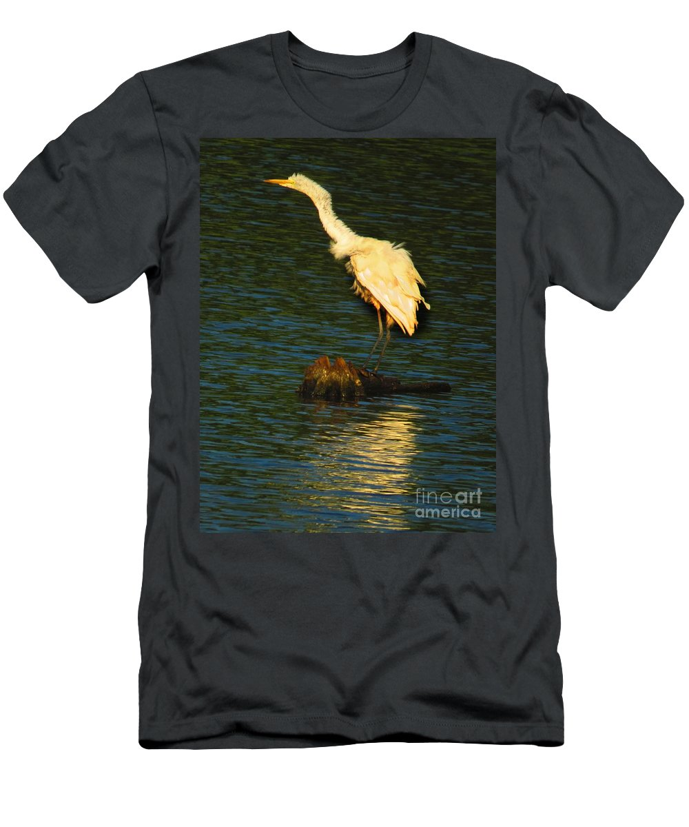 Bombay Hook Men's T-Shirt (Athletic Fit) featuring the photograph Ruffled Egret by Rrrose Pix
