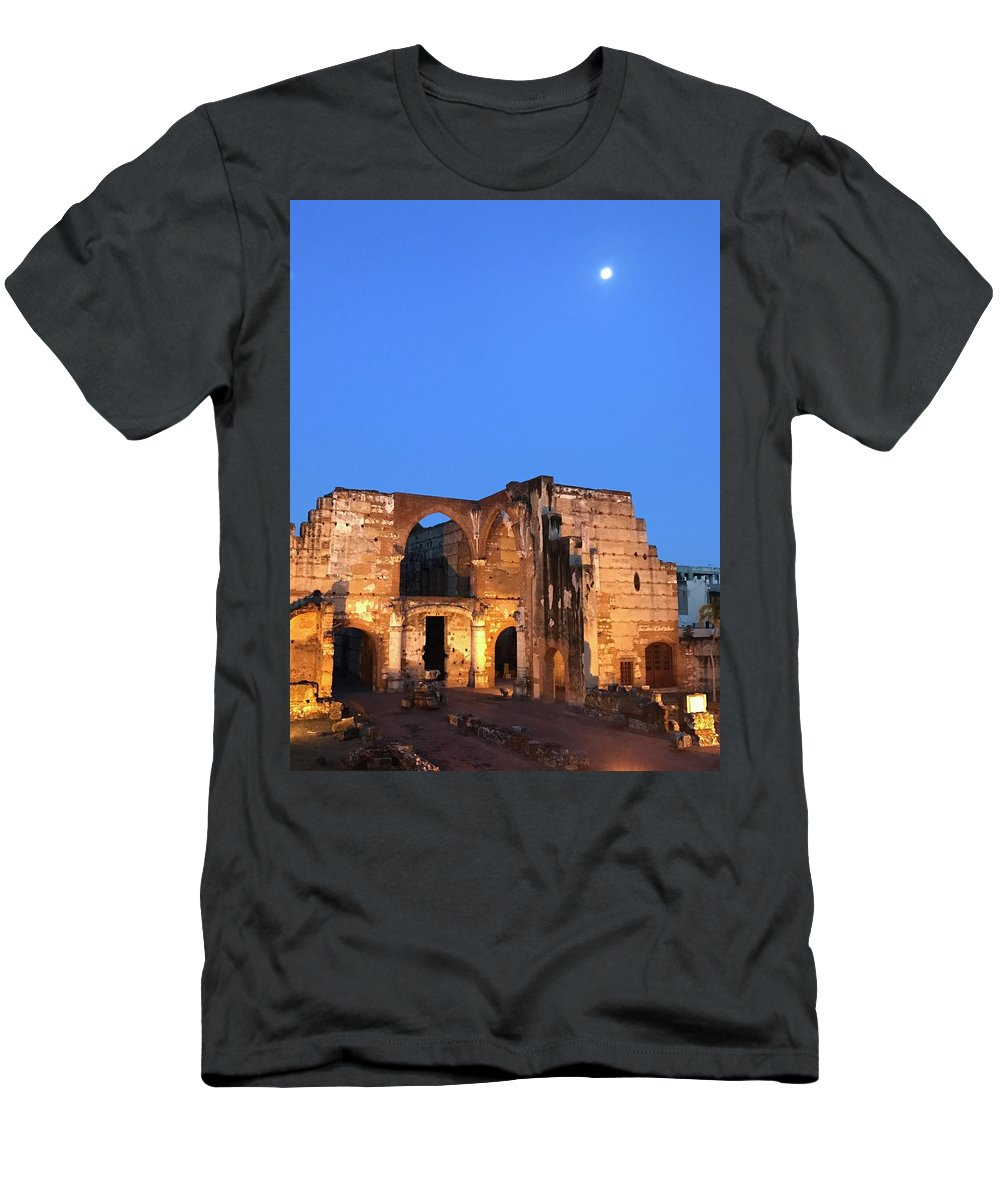 Night Men's T-Shirt (Athletic Fit) featuring the photograph Ruins Of San Nicolas De Bari Hospital by Theodore Johns