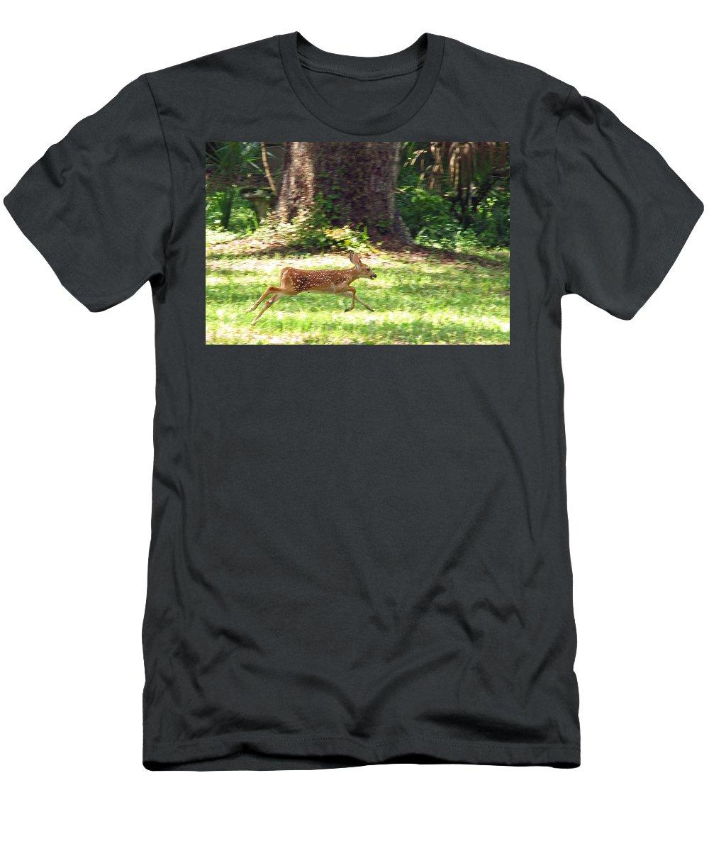 Deer Men's T-Shirt (Athletic Fit) featuring the photograph Run Bambi Run by Peg Urban