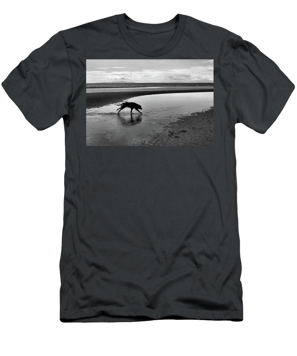 Abstract Men's T-Shirt (Athletic Fit) featuring the photograph Running Dog Bw by Lyle Crump