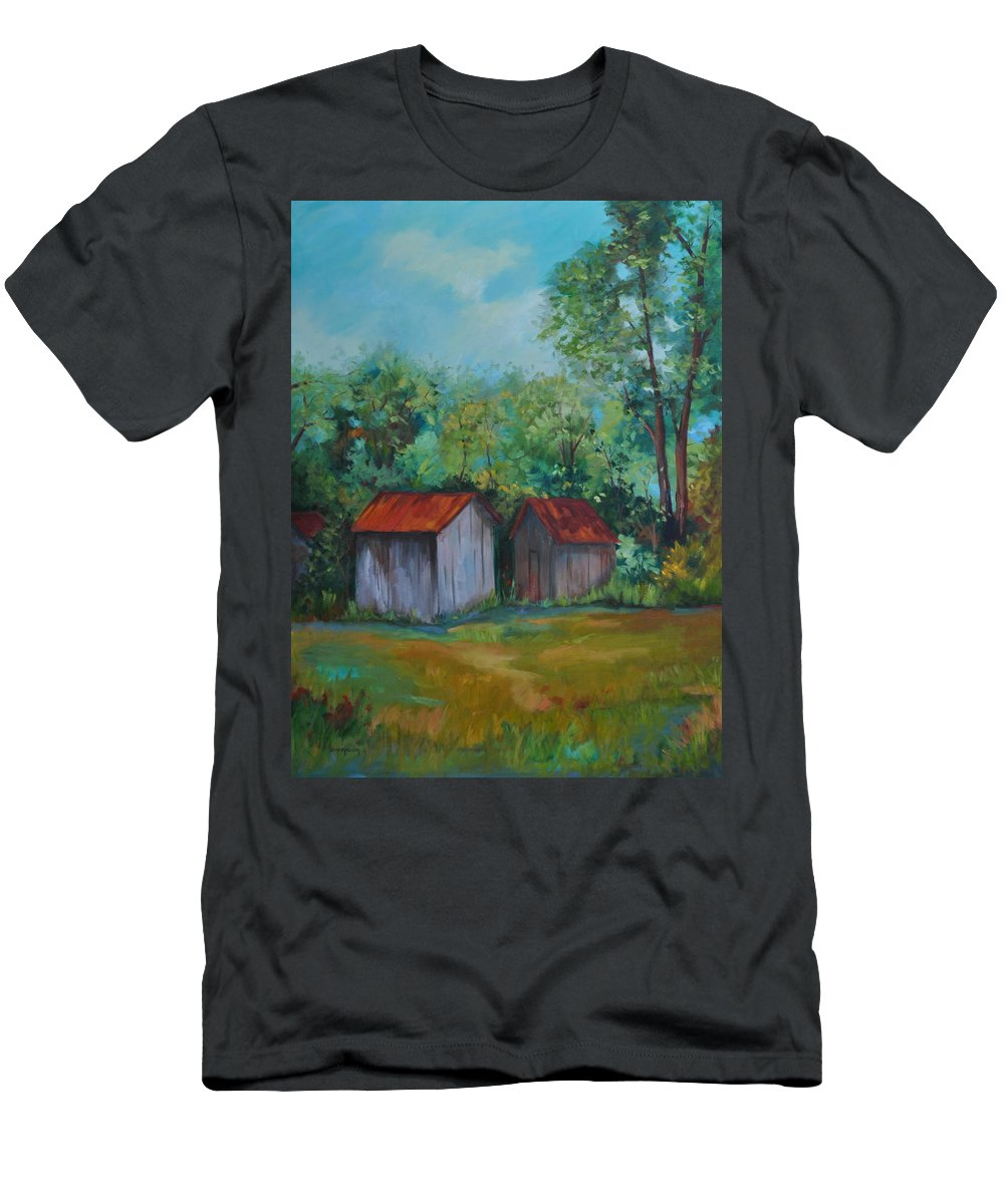 Outbuildings Men's T-Shirt (Athletic Fit) featuring the painting Rural Architecture by Ginger Concepcion