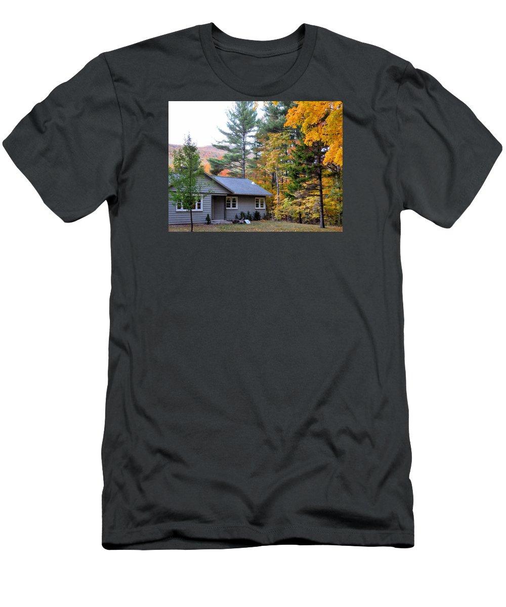 Rural Landscape Men's T-Shirt (Athletic Fit) featuring the painting Rural Colorful Autumn Landscape 3 by Jeelan Clark