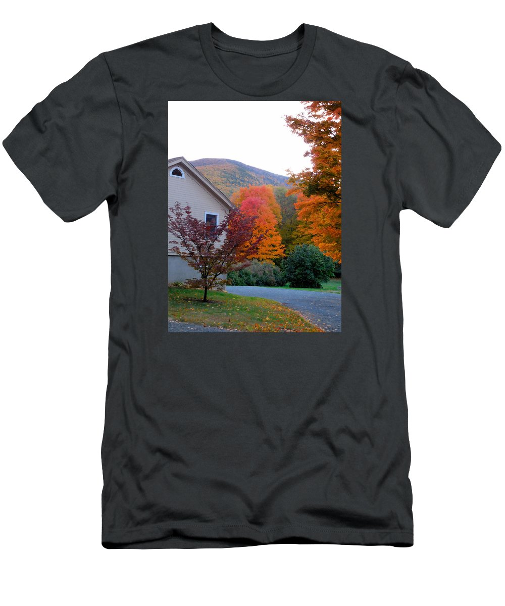 Rural Landscape Men's T-Shirt (Athletic Fit) featuring the painting Rural Colorful Autumn Landscape 4 by Jeelan Clark