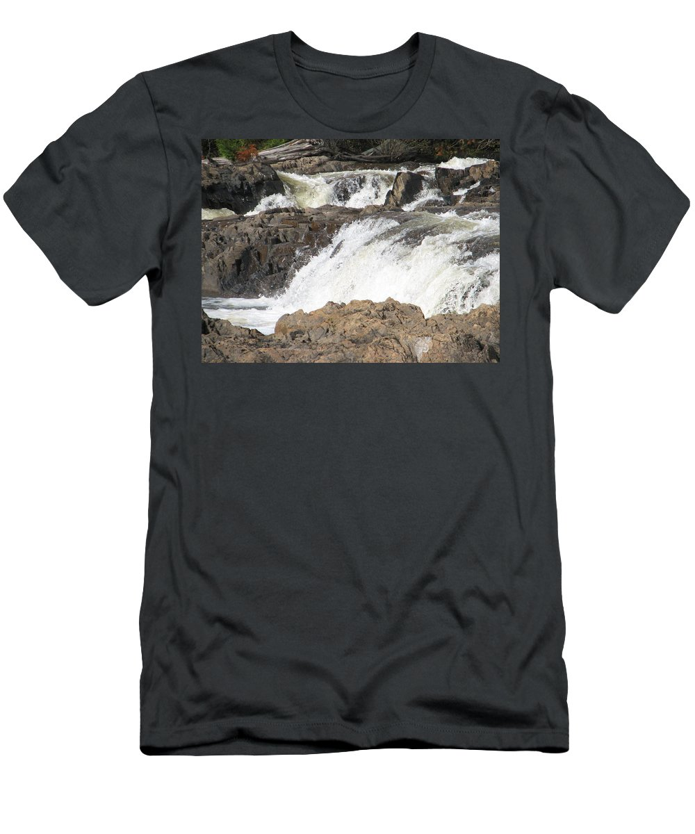 Waterfall Men's T-Shirt (Athletic Fit) featuring the photograph Rushing by Kelly Mezzapelle