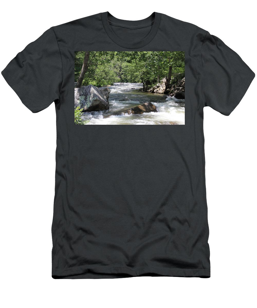 Stream Men's T-Shirt (Athletic Fit) featuring the photograph Rushing Waters by Allen Nice-Webb