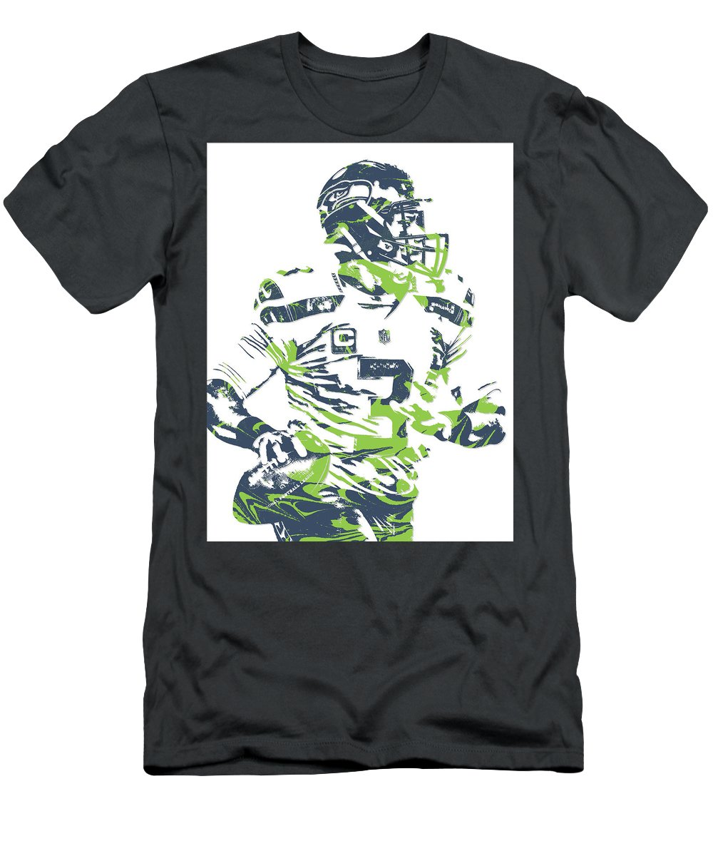 Russell Wilson Men's T-Shirt (Athletic Fit) featuring the mixed media Russell Wilson Seattle Seahawks Pixel Art 10 by Joe Hamilton