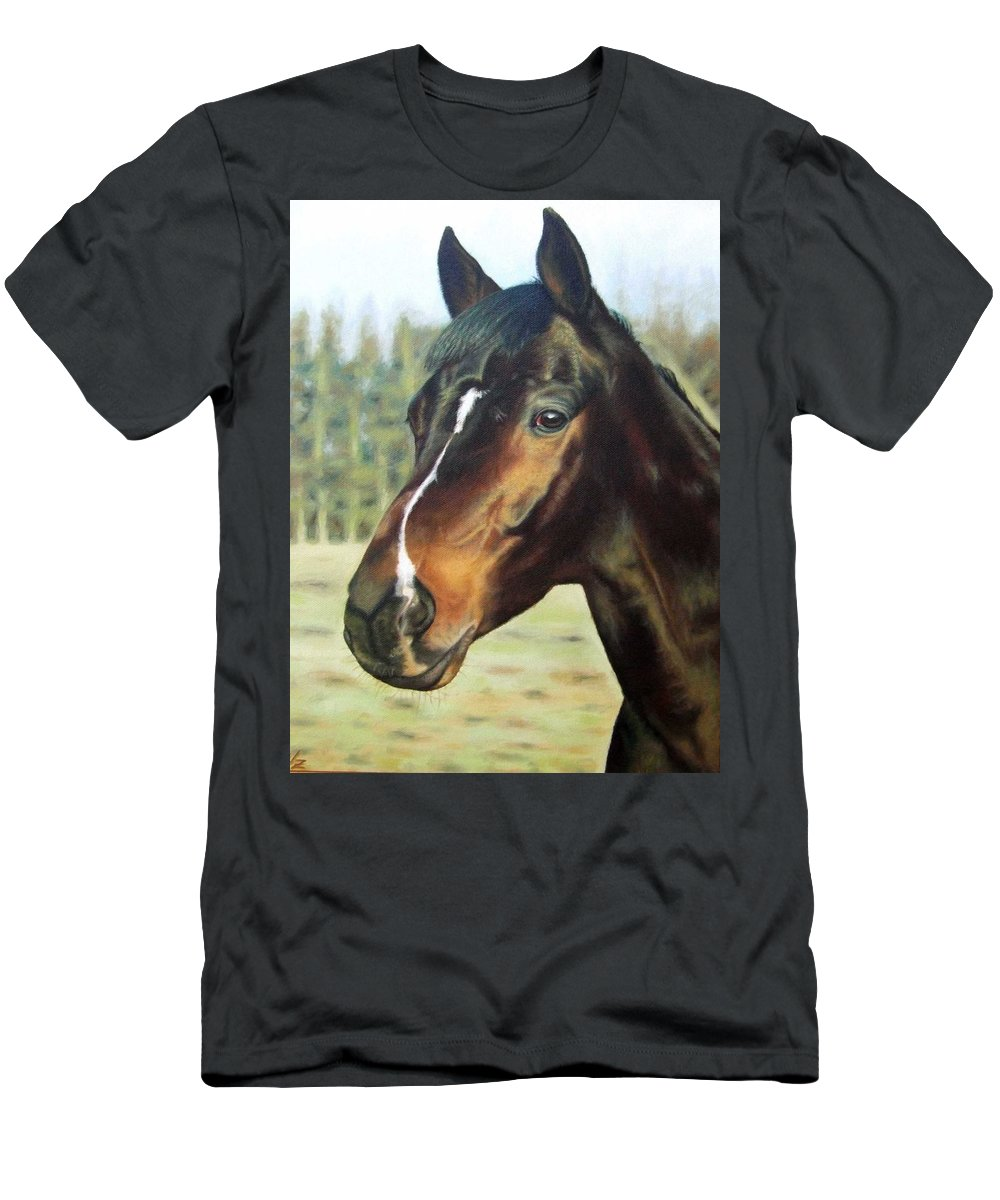 Horse Men's T-Shirt (Athletic Fit) featuring the painting Russian Horse by Nicole Zeug