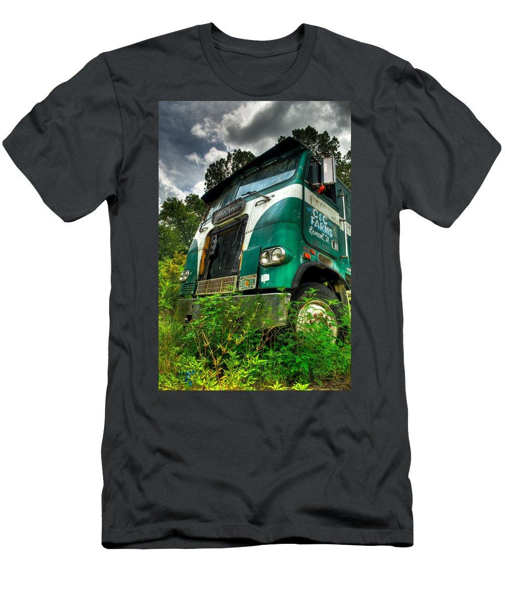 Truck Men's T-Shirt (Athletic Fit) featuring the photograph Rusted And Busted by Rich Leighton