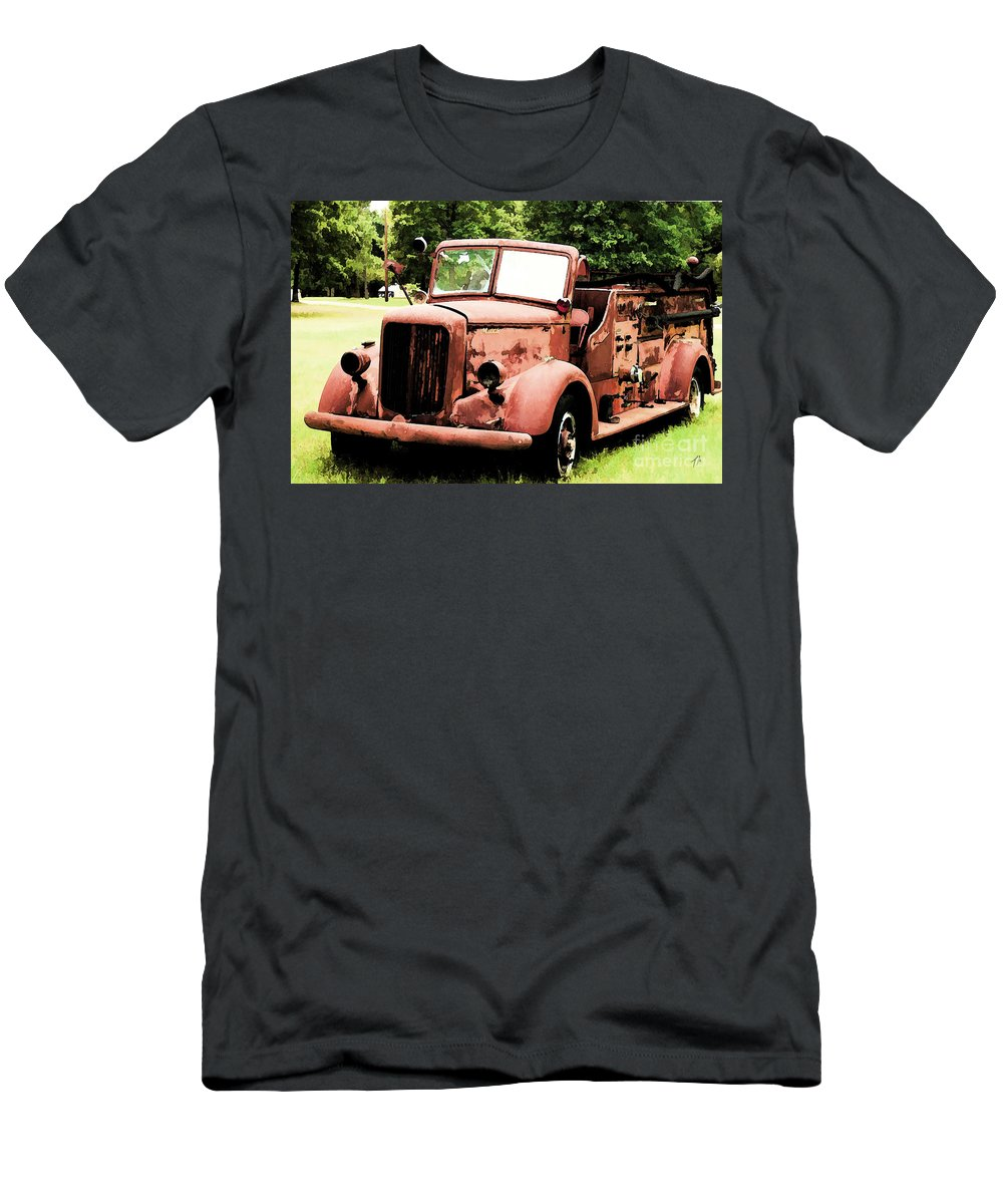 Mack Men's T-Shirt (Athletic Fit) featuring the digital art Rusted Mack Fire Engine by Tommy Anderson