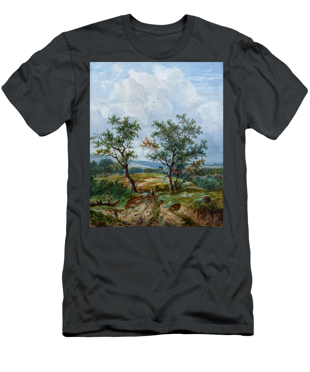 Joseph Thors - Rustic Scene Men's T-Shirt (Athletic Fit) featuring the painting Rustic Scene by MotionAge Designs