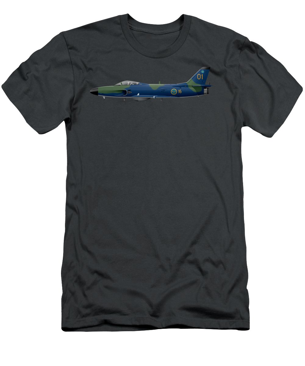 Plane Men's T-Shirt (Athletic Fit) featuring the digital art Saab J32e Lansen - 32507 - Side Profile View by Ed Jackson