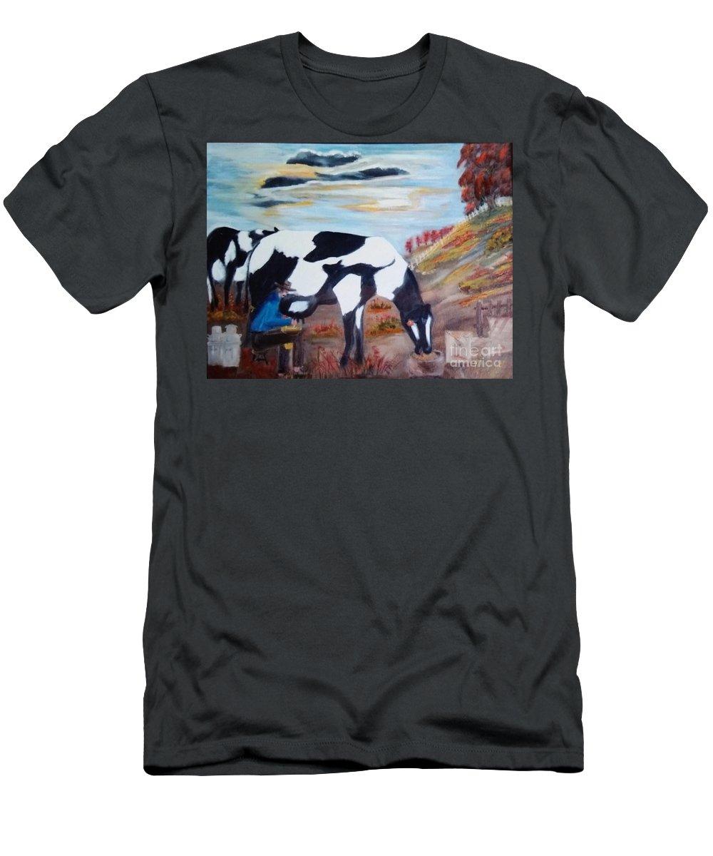 Horse Farm Men's T-Shirt (Athletic Fit) featuring the painting Sacandole La Leche Ala Vaca by Juan Carlos Gonzalez