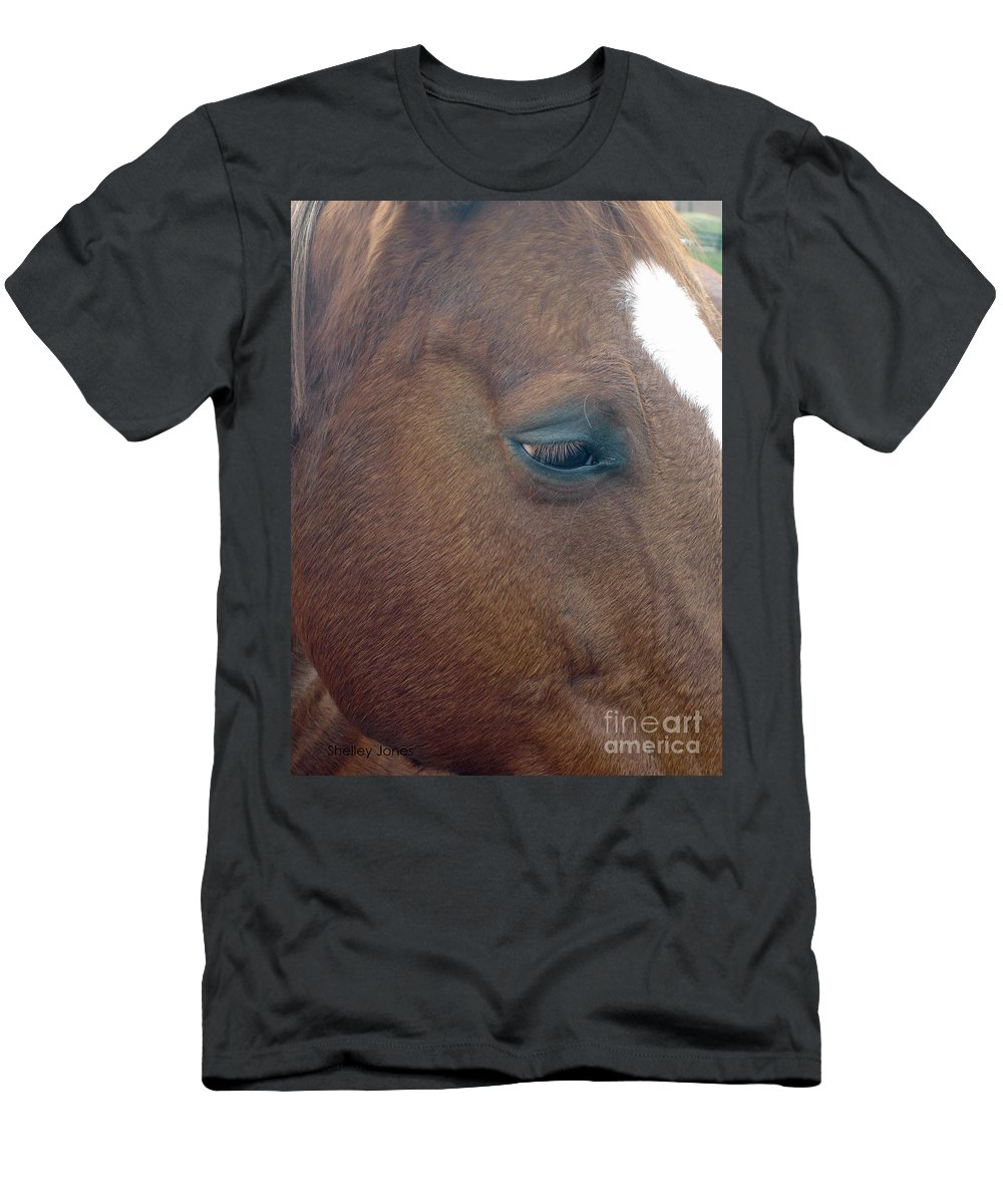 Horse Men's T-Shirt (Athletic Fit) featuring the photograph Sad Eyed by Shelley Jones