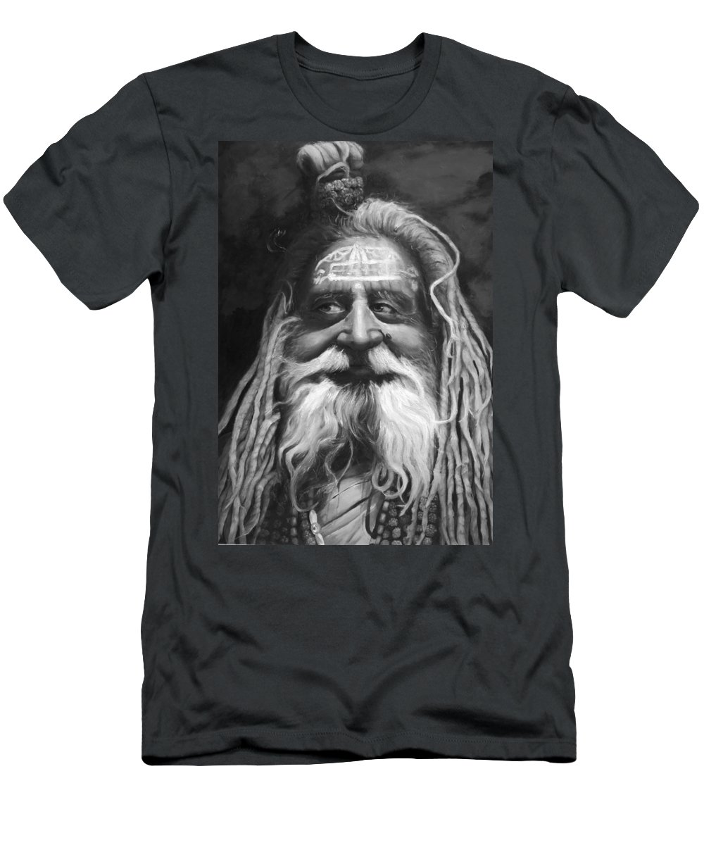 Sadhu Men's T-Shirt (Athletic Fit) featuring the painting Sadhu by Portraits By NC