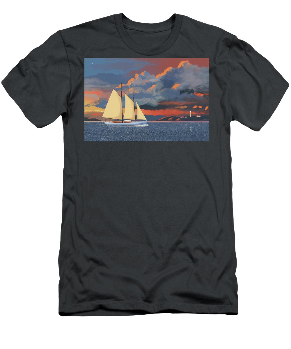 Schooner Yawl Sloop Ketch Sailing Sailor Ship Boat Freighter Sailing Ocean Sea Lake Stream River Cargo Storm Stormy Clouds Thunder Lightening T-Shirt featuring the digital art Safe haven by Gary Giacomelli
