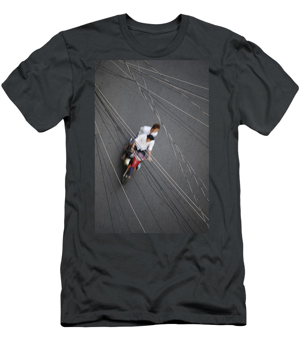 Asia Men's T-Shirt (Athletic Fit) featuring the photograph Saigon Wires by Rafa Rivas