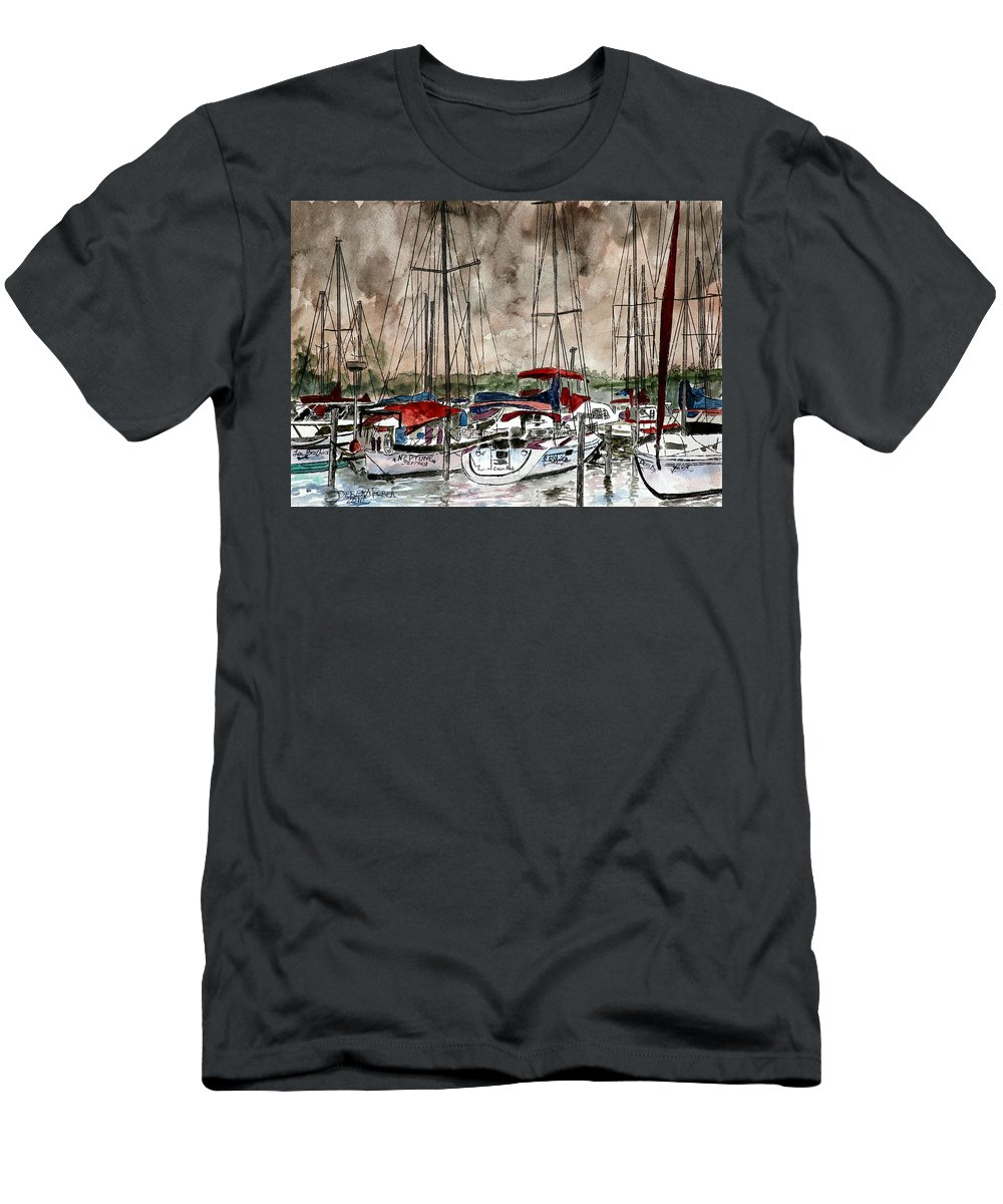 Watercolor T-Shirt featuring the painting Sailboats At Night by Derek Mccrea
