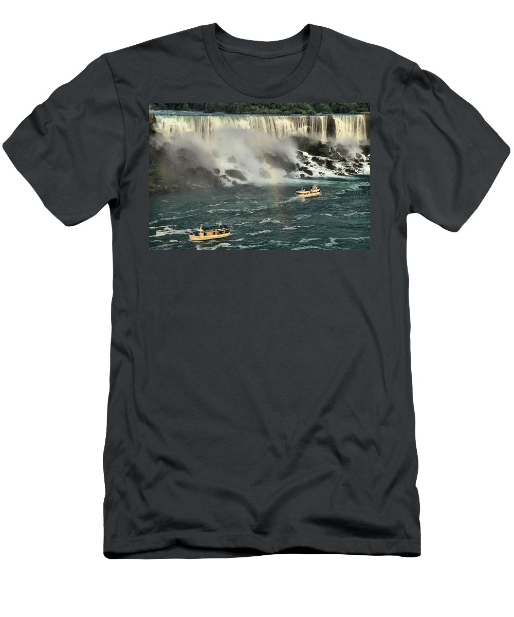 Niagara Falls State Park Men's T-Shirt (Athletic Fit) featuring the photograph Sailing Into The Mist by Adam Jewell