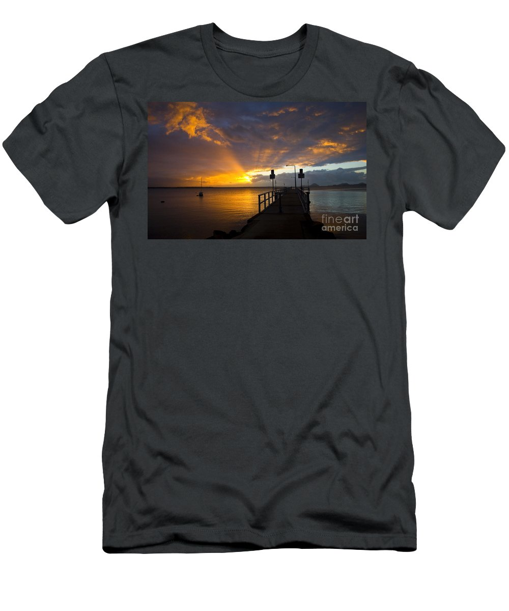 Sunrise Men's T-Shirt (Athletic Fit) featuring the photograph Salamander Bay Sunrise by Sheila Smart Fine Art Photography