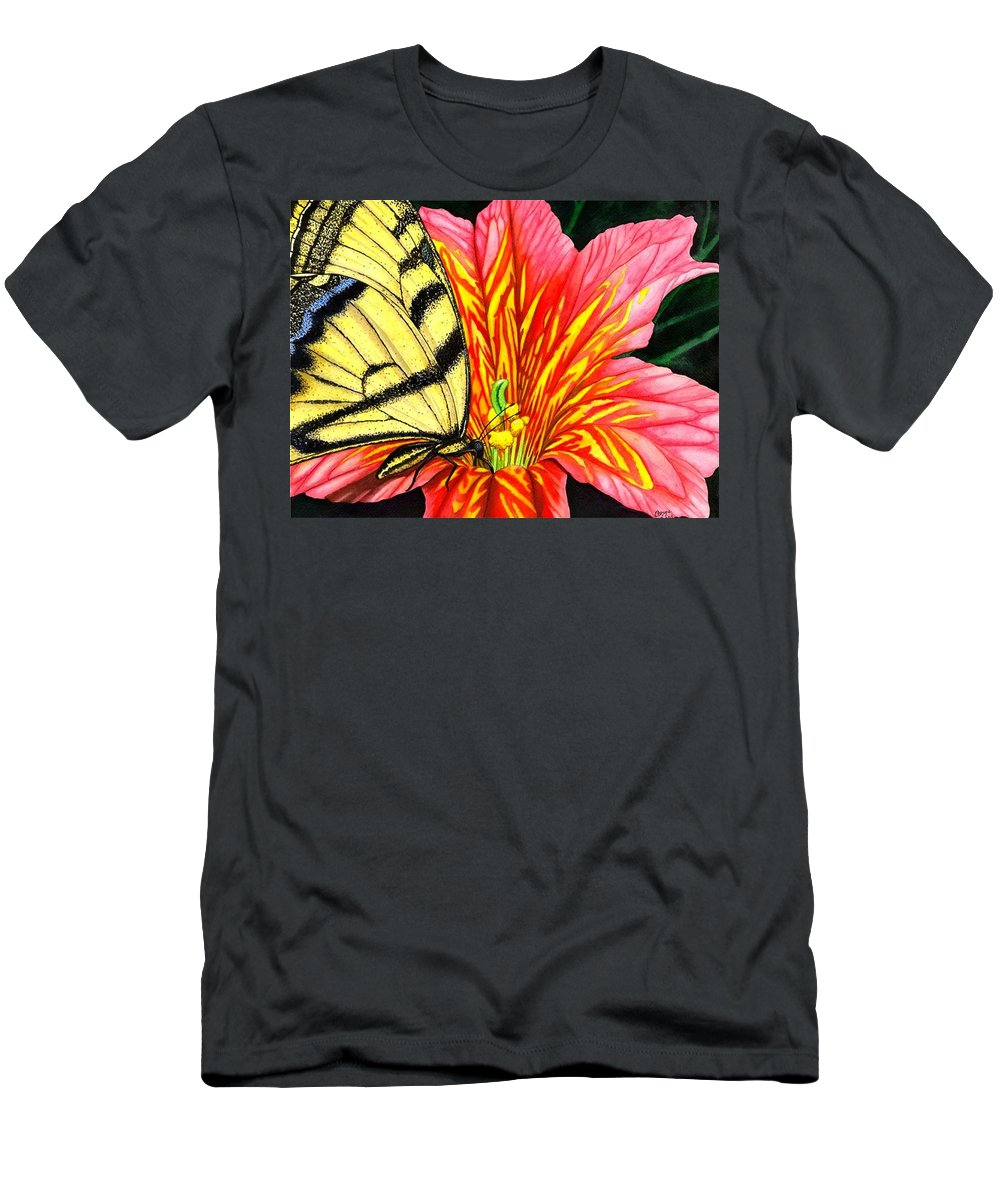 Salpiglossis Men's T-Shirt (Athletic Fit) featuring the painting Salpliglossis by Catherine G McElroy
