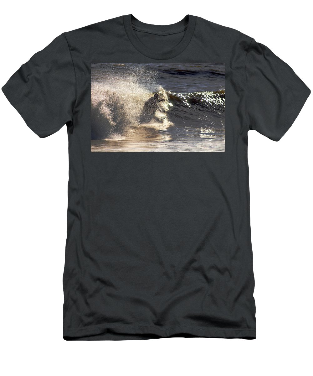Clay Men's T-Shirt (Athletic Fit) featuring the photograph Salt Spray Surfing by Clayton Bruster