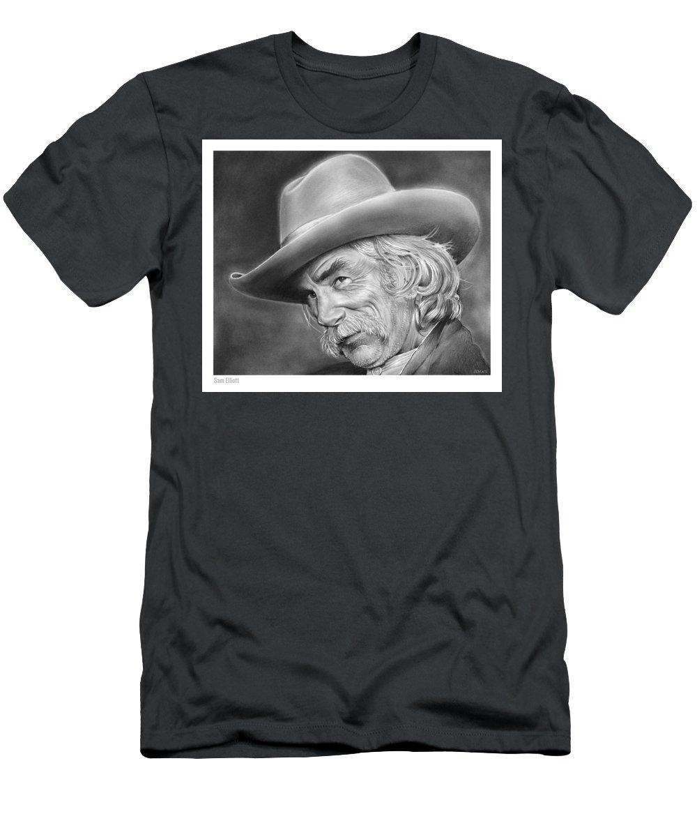 Sam Elliott Men's T-Shirt (Athletic Fit) featuring the drawing Sam Elliott by Greg Joens
