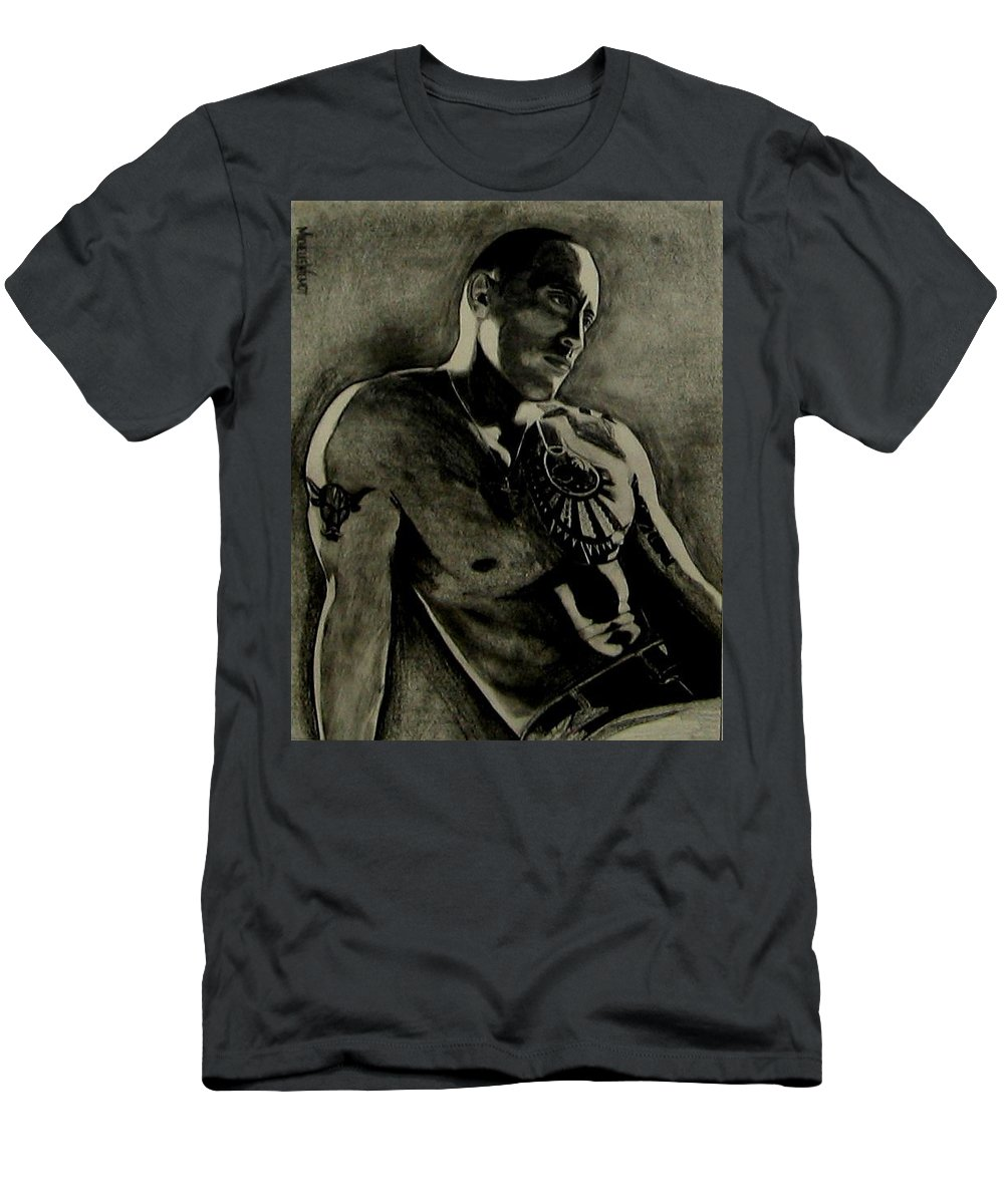 The Rock Men's T-Shirt (Athletic Fit) featuring the drawing Samoan Idol by Michelle Dallocchio