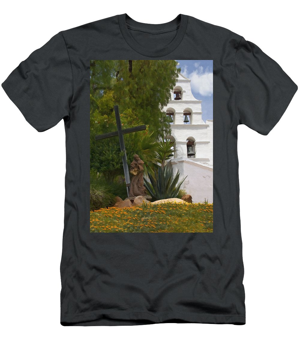 Mission Men's T-Shirt (Athletic Fit) featuring the digital art San Diego Mission Bells by Sharon Foster
