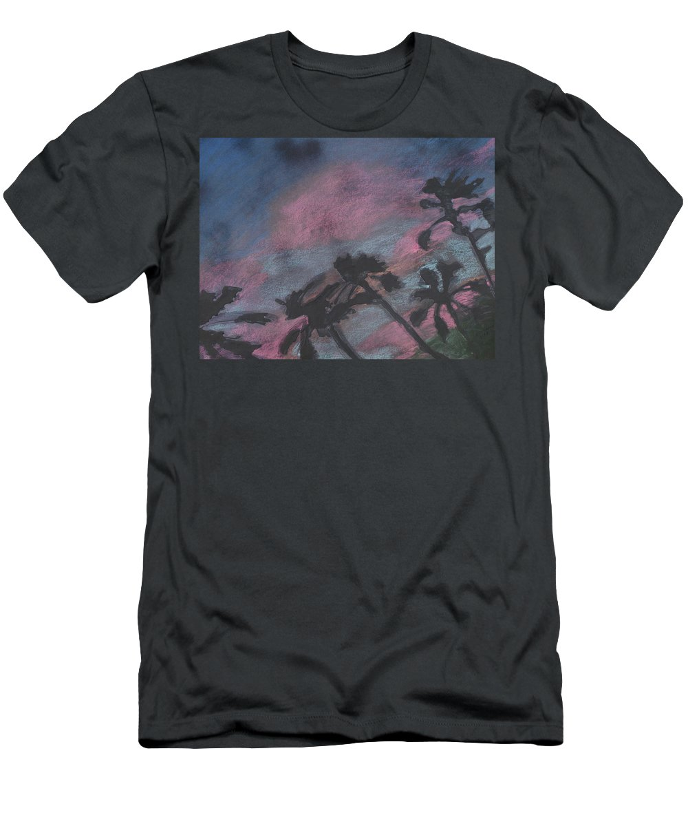 Contemporary Tree Landscapes Men's T-Shirt (Athletic Fit) featuring the drawing San Diego Palms by Leah Tomaino