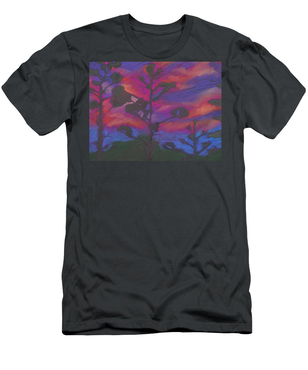Contemporary Tree Landscape Men's T-Shirt (Athletic Fit) featuring the mixed media San Diego Sunset by Leah Tomaino