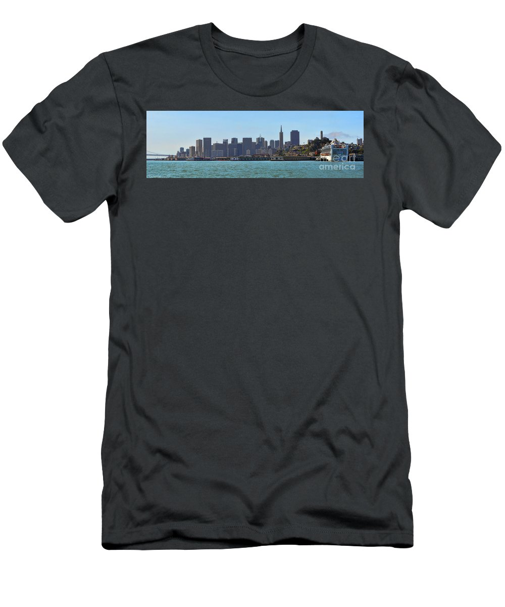 Skyline Men's T-Shirt (Athletic Fit) featuring the photograph San Francisco Skyline -1 by Tommy Anderson