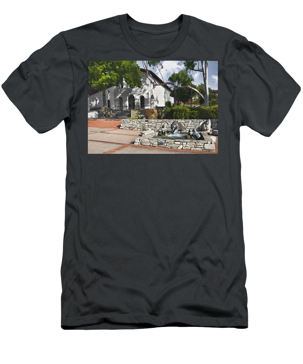 San Luis Mission Men's T-Shirt (Athletic Fit) featuring the digital art San Luis Mission Fountain by Sharon Foster