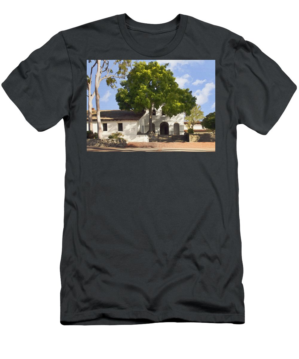 San Luis Obispo De Tolosa Mission Men's T-Shirt (Athletic Fit) featuring the digital art San Luis Mission by Sharon Foster