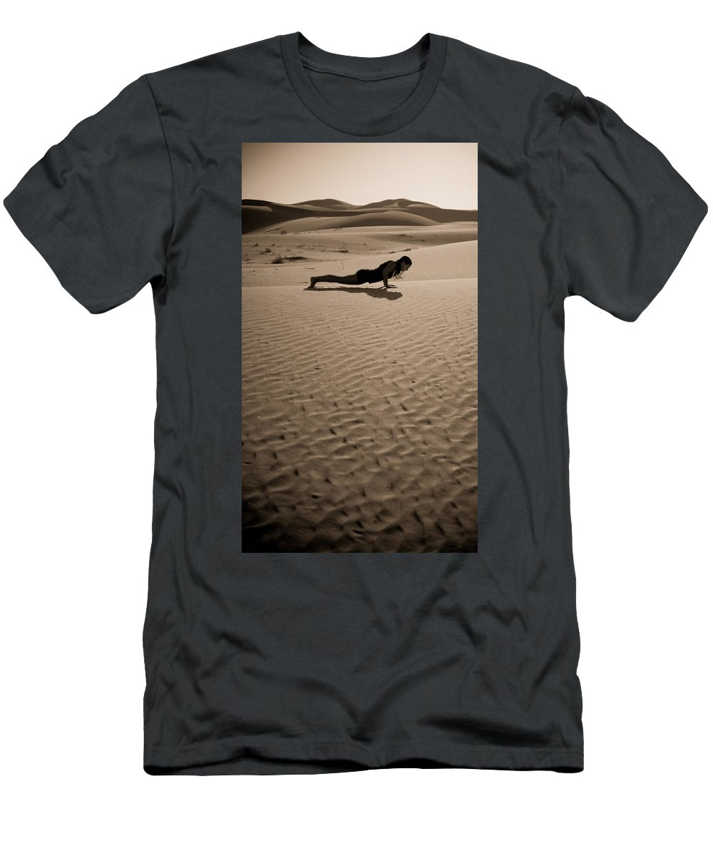 Yoga Men's T-Shirt (Athletic Fit) featuring the photograph Sand Plank by Scott Sawyer
